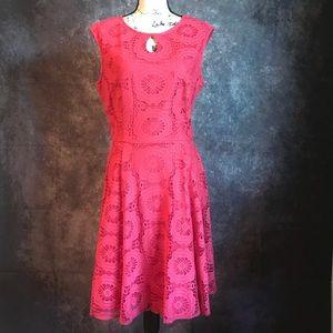 London Times Pink Lace Keyhole Dress 16